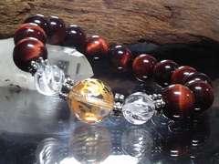 四神獣四体彫り14ミリ§レッドタイガーアイ12ミリ数珠