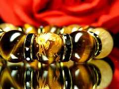 最高の組合せ!豪華/皇帝龍タイガーアイXタイチンルチル数珠