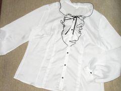 フリルリボン*細ストライプ*長袖トップスシャツ(ホワイト)