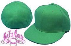 92B)カスタム自在無地ベースボールキャップグリーン緑7 5/8(61cm)B系HipHop