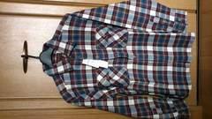 激安70%オフ長袖シャツ、ネルシャツ(新品タグ、茶紺、日本製、M)