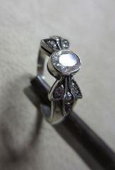 """Silver925 """"CZ""""リボン Ring 純銀指輪 10号   n151"""