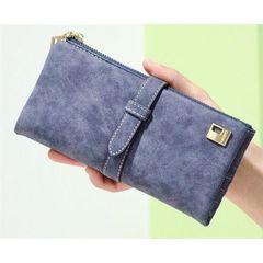 【グレー】レディース 長財布 スウェード調 大容量 カラー多数