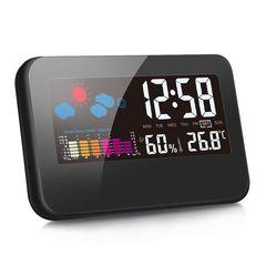 デジタル湿度計 温度計 LCD大画面 時間/月日/曜日/最高最低温