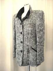 【レジアンス】黒/白ツイードジャケットコートです