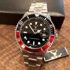 最安値!ロレックス・サブマリーナタイプ◇クォーツ メタル腕時計・黒×赤×シルバー