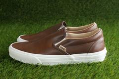 【VANS】オールレザー【C Slip On】LUX LEATHER 24.5�a