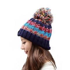 レディース ニット帽 カラフル ブルー