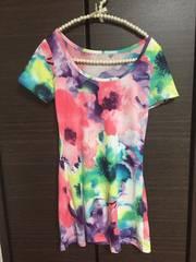 Tシャツ 花柄 パステル 水彩風 ロングティシャツ
