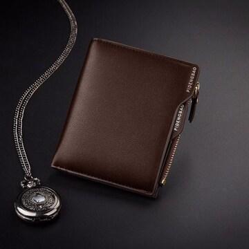 財布 二つ折り財布 メンズ お札入れ カード入れ 小銭入れ  茶色