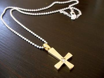 仁尾彫金『一つ星ダイヤ逆十字真鍮クロス』ハンドメイド89