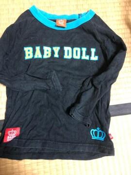 ベビードール/BABYDOLL/ロンT/長袖Tシャツ/黒/ブラック/100cm