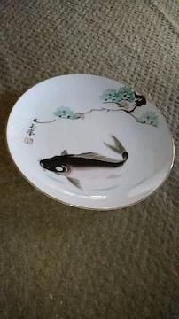有田焼き鯉池花色絵皿窯印