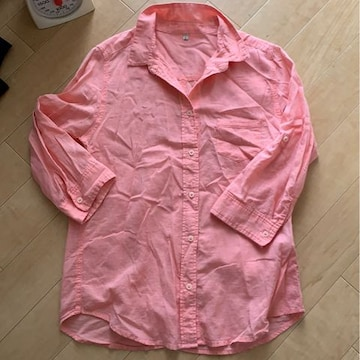 Lサイズ!五分袖シャツ!サーモンピンク