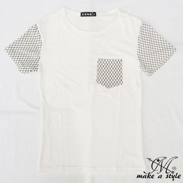 スリーブ&ポケット アーガイル プリント Tシャツ TEE 半袖 69XL