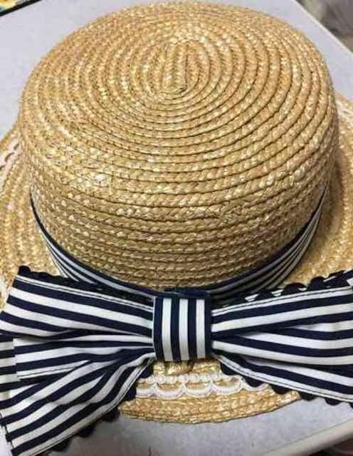アンジェリックプリティAngelic Pretty青白ストライプ麦わら帽子  < ブランドの