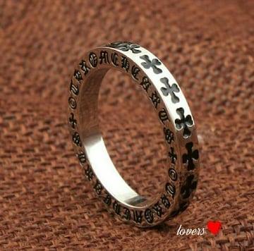 送料無料20号クロムシルバークロス十字架フープリング指輪