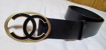 正規美 シャネル クルーズ ココマークロゴバックルベルト黒 75 4cm幅レザー CCアイコンL