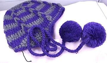 miumiu ミュウミュウ 毛糸・手編みの帽子 パープル×グレー★dot