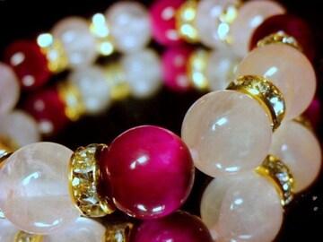 ピンクタイガーアイ§ローズクォツ10ミリ金ロンデル数珠