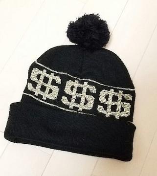 黒×gold$柄ポンポンニット帽◆ドル柄◆B系安室系