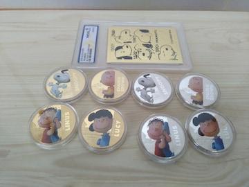 貴重スヌーピー記念金貨銀貨メダルと50周年記念23Kプレート