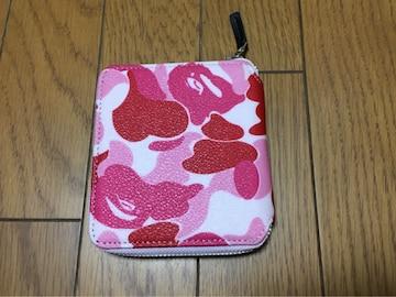 中古APEウォレット財布ピンク迷彩エイプ2つ折り少し難あり