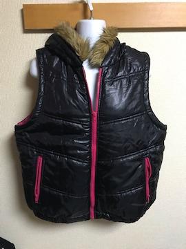 ★クロスプラス  黒×ピンク ノースリ中綿ジャケット  LL★