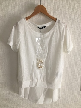 新品 セシルマクビー 半袖 トップス tシャツ シフォン 白 ホワイト ネックレス付