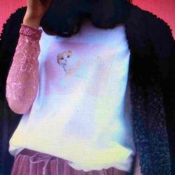 WEGO・ゆめかわネコフォトプリントTシャツ。ピンク