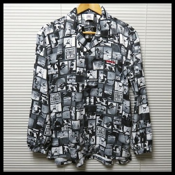 VISIONオープンカラー総柄フォトビッグシャツ/L