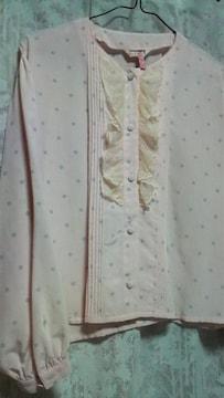 水玉/ ピンク×グレー/ ドット/ ブラウス/ 9号/ 春色