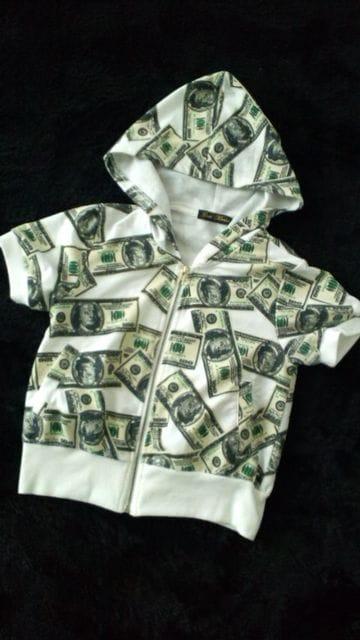 girls Market100$札柄ジップアップパーカー白LB-03shoop系ダンス  < 女性ファッションの