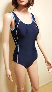 ☆新同☆競泳系☆微光沢ネイビー切替のワンピ水着564☆3点で即落