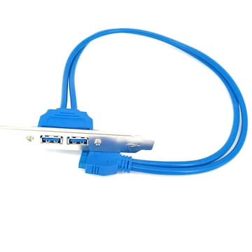 USB 3.0 デュアル バックパネルケーブル ブラケット付き
