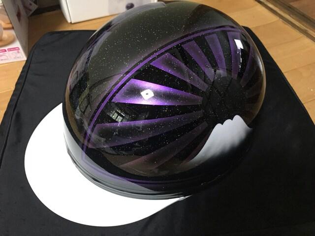7色ラメ 富士日章 コルク半 ヘルメット 紫 三段シート ゼファー < 自動車/バイク
