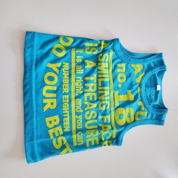 濃い水色に黄色の英語柄袖無しTシャツ80