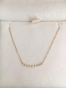 アガット ダイヤモンド カーブライン ネックレス K18YG 0.05ct