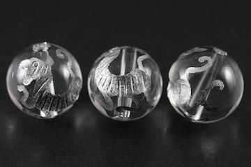 四神獣☆銀塗り白虎☆水晶12mmビーズ 1個