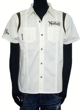 新品Norton袖リブ切替半袖ストレッチシャツホワイトL