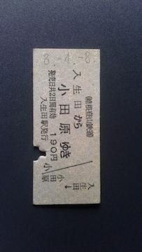 箱根登山鉄道、入生田から小田原ゆき切符 ハサミ入り
