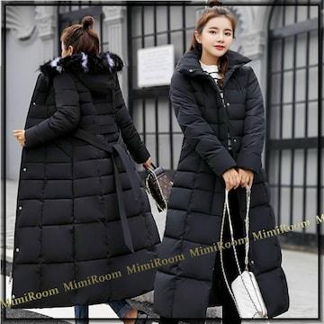 〜2L3L【大きいサイズ】ファー付きフード☆中綿ダウンロング丈コート/黒