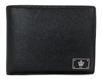 正規ドルチェ&ガッバーナ財布二つ折り型押しレザー小銭