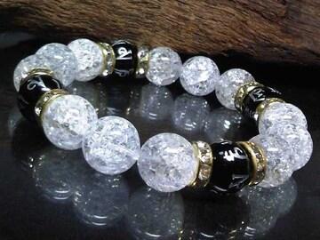 銀彫六字真言梵字オニキス§クラック水晶12�_数珠