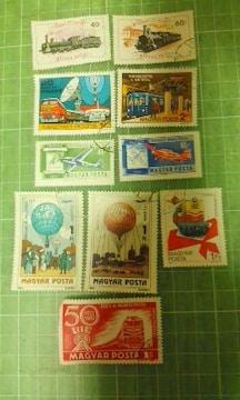 ハンガリー乗り物切手10種類♪
