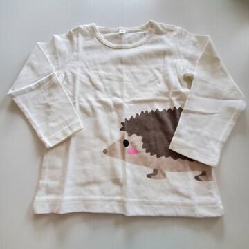 白いハリネズミ柄、長袖Tシャツ95