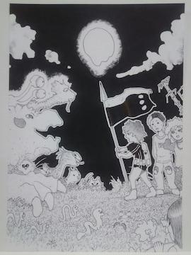 オリジナルイラスト手描きイラストハンドメイド決戦は冥曜日インテリア原画絵モノクロアート星
