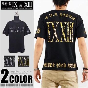 メール便送料無料【G.H.R NINE&THIRTEEN】70725Tシャツ黒金L