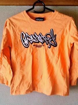 キッズ 子供服 シャツ Tシャツ 長袖 オレンジ 綿100% 男女兼用