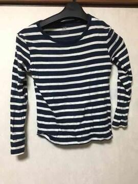 子供服/H&M/ロンT/長袖Tシャツ/ボーダー/ネイビー/120cm/130cm